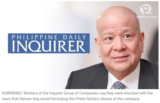 Ramon Ang to buy out Inquirer