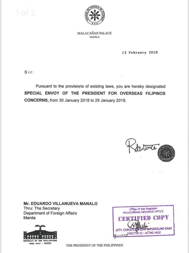 EVM's Appointment from Duterte