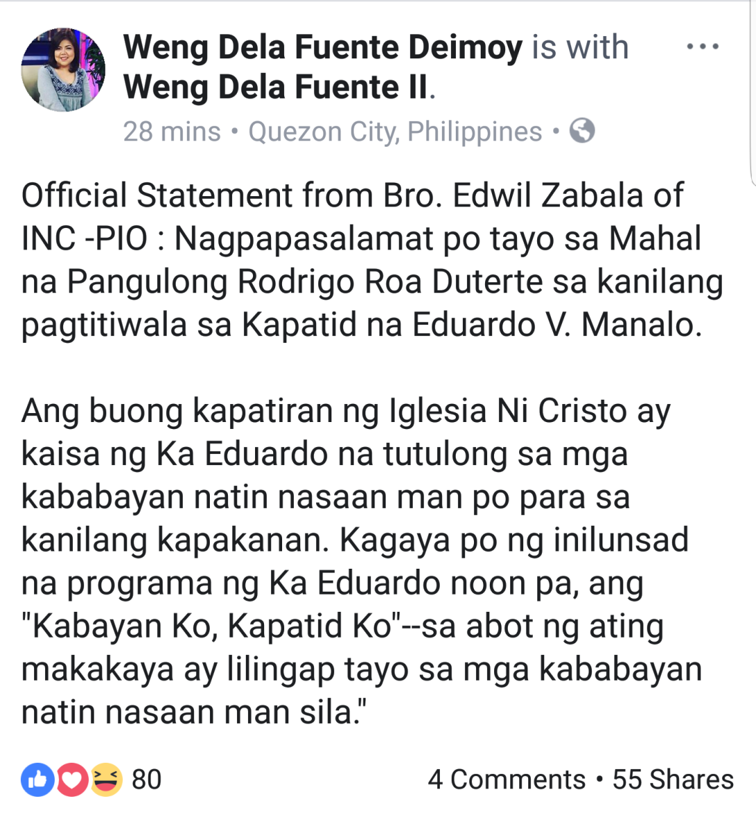 Official Statement of Edwil Zabala by Weng Dela Fuente